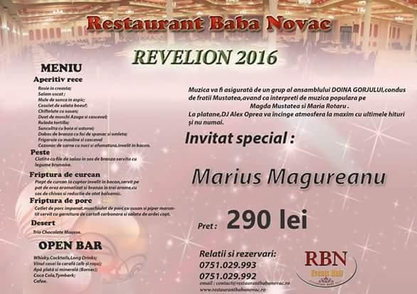 Oferta Meniu Revelion 2016 Baba Novac